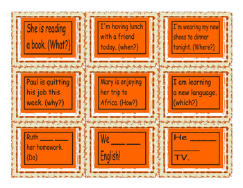 Present Continuous Tense Cards