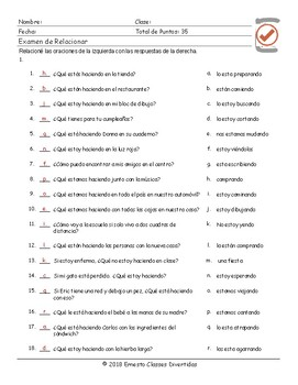 Present Continuous Tense Spanish Matching Exam