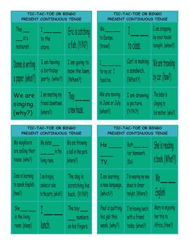 Present Continuous Tense Tic-Tac-Toe or Bingo