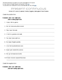 Present Continuous Worksheet for English Learners CEF Level A2