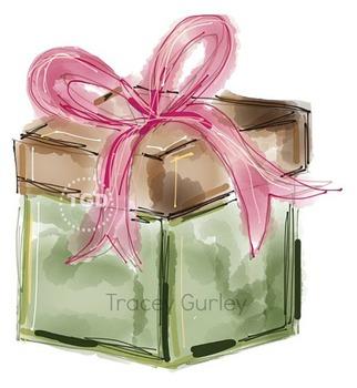 Present Gift Illustration Original Art Download, Printable Tracey Gurley Designs
