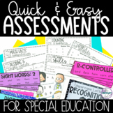 Assessments for Special Education Present Level of Perform