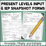 Present Levels Input Form & IEP Snapshot SPED Forms