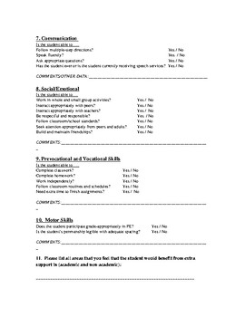 Present Levels Page Informational Page