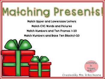 Present Matching! Number, Counting, Subitizing, Letters and CVC Puzzle Practice!