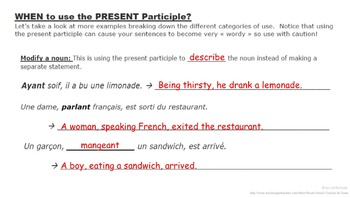 Present Participle (Formation and Usage): French Quick Lesson