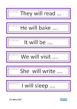 Present Past Future Tense Verbs Saying Sentences Autism Special Education