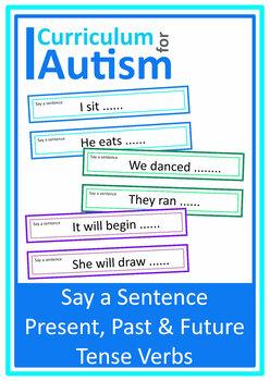 Present Past Future Tense Verbs Saying Sentences Autism Special Education