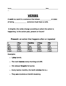 Present  Past Tense Verbs ELL ESL