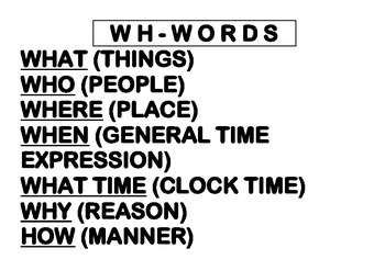 Present, Past, Wh-words,Subject Object Pronouns