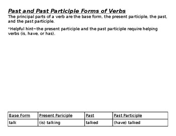 Present, Past, and Past Participle Verbs