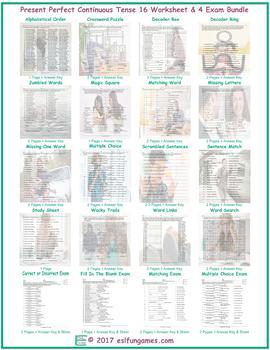 Present Perfect Continuous Tense 16 Worksheet- 4 Exam Bundle