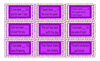 Present Perfect Continuous Tense Cards