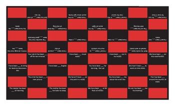 Present Perfect Continuous Tense Checker Board Game