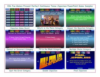 Present Perfect Continuous Tense Jeopardy PowerPoint Game