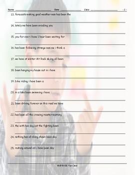 Present Perfect Continuous Tense Scrambled Sentences Worksheet