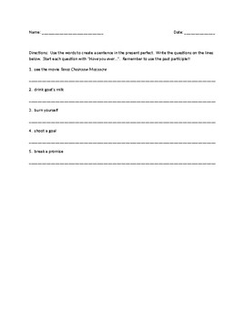 Present Perfect Game Questions