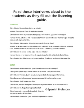Present Perfect Listening Practice - Listening to Tourists in Barcelona