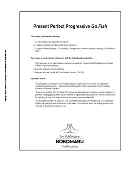 Present Perfect Progressive Go Fish