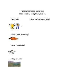 Present Perfect - Questions with EVER for ESL
