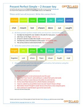Present Perfect Simple - Activity Sheet - 2 (Answer Key)