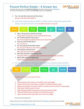 Present Perfect Simple - Activity Sheet - 4 (Answer Key)