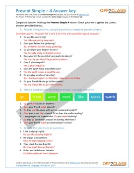 Present Simple - Activity Sheet - 4 (Answer Key)