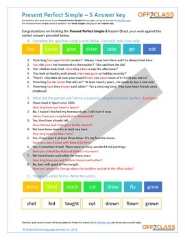 Present Perfect Simple - Activity Sheet - 5 (Answer Key)