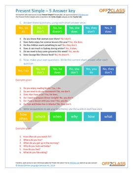 Present Simple - Activity Sheet - 5 (Answer Key)
