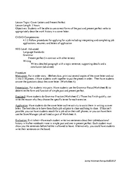 present perfect simple past cover letter lesson plan - Perfect Cover Letter