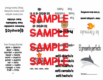Present Perfect Spanish Verb Study Booklet (paper folding)