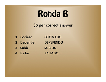 Spanish Present Perfect Subjunctive $1000 Pyramid Game
