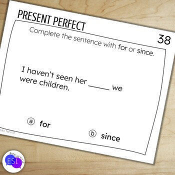 Present Perfect Task Cards for Secondary to Adult Students