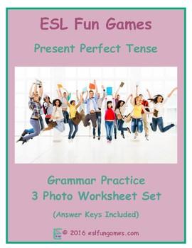 Present Perfect Tense 3 Photo Worksheet Set