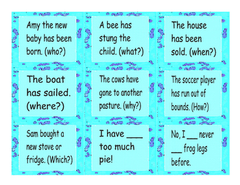 Present Perfect Tense Cards