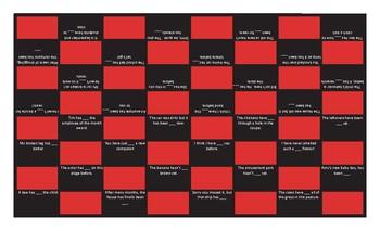 Present Perfect Tense Checker Board Game
