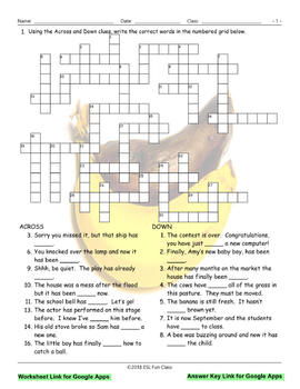 Present Perfect Tense Interactive Crossword Puzzle for Google Apps