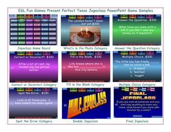 Present Perfect Tense Jeopardy PowerPoint Game