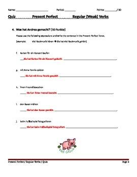 Present Perfect Tense Quiz - Regular (Weak) Verbs