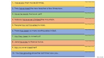 Present Perfect Tense Sentence Editing Strips
