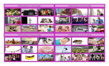 Present Perfect Tense Spanish Legal Size Photo Tic-Tac-Toe-Bingo Game