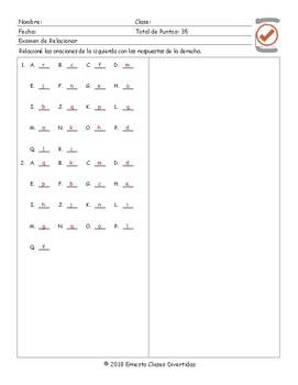 Present Perfect Tense Spanish Matching Exam