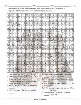 Present Perfect Tense Word Search Worksheet
