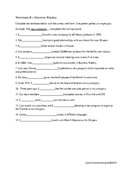 Present Perfect and Simple Past Guided Discovery Activity