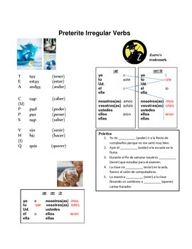 Present, Preterit, and Imperfect Verb Group Charts and Activities