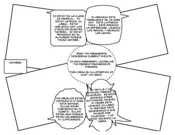 Spanish Present Progressive Cartoon Activities