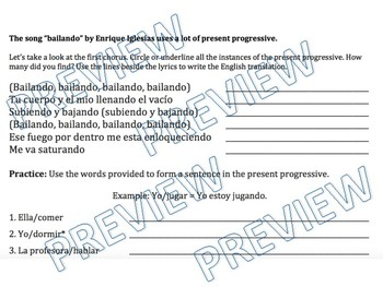 Present Progressive / El Presente Progresivo - PowerPoint and Guided Notes
