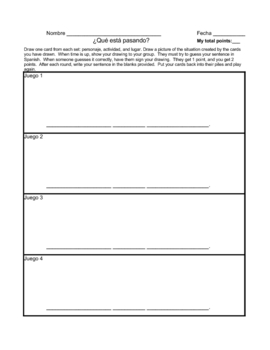 Present Progressive Game with Bulletin Board idea and Worksheet