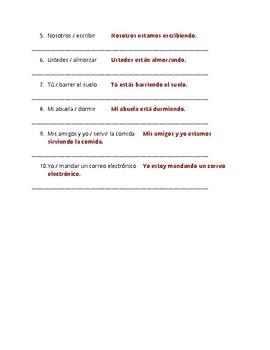 Present Progressive Guided Notes TEACHER COPY