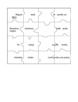 Spanish Present Progressive Puzzles